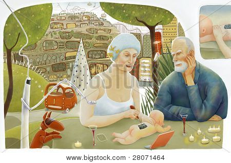 illustration of senior couple making baby in their city house in the future
