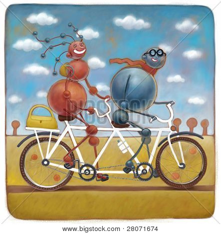 Two molecules on the tandem bicycle, illustration