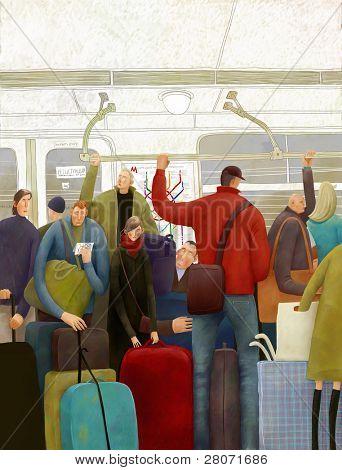 En el metro de Moscú, Ilustración
