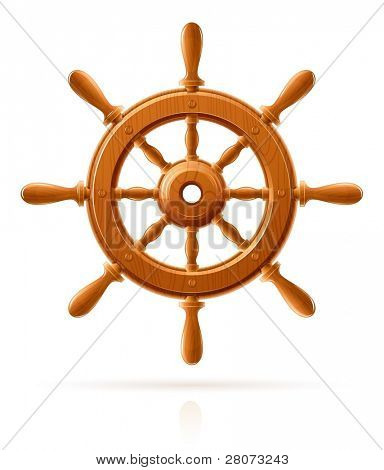 ship wheel marine wooden vintage  vector illustration isolated on white background