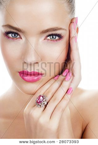 Woman with pink makeup