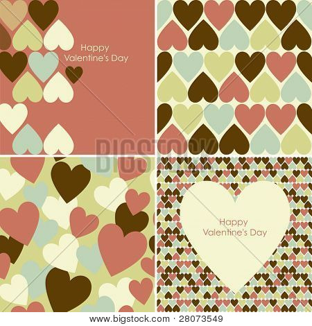 Vector set of Valentines seamless pattern