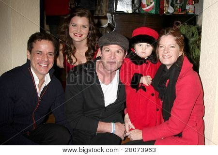 LOS ANGELES - DEC 17:  Christian LeBlanc, Heather Tom, Winsor Harmon, Michelle Stafford and daughter at the 2011 Tom / Achor Annual Christmas Party at Private Home on December 17, 2011 in Glendale, CA