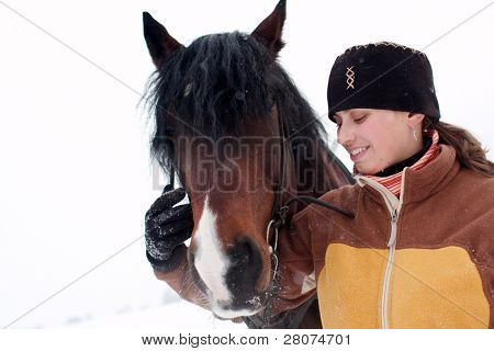 smiling woman with horse isolated on white background