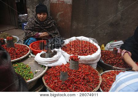 KATHMANDU, NEPAL - JANUARY 1: Local woman sells peppers on the street on January 1, 2009 in Kathmandu, Nepal. The basic branch of economy in Nepal - agriculture (76 % of working population).