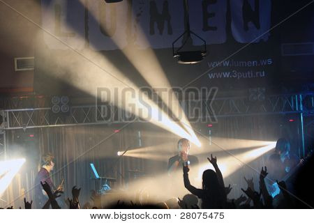 "TOMSK, RUSSIA - OCTOBER 2: At the concert music band ""Lumen"" in the night club ""Metro"", October 2, 2009 in Tomsk, Russia."