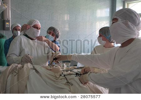 TOMSK, RUSSIA - JULY 3: Implementation of endoscopic surgery in the Tomsk hospital, open cuts are gone, they were replaced by microscopic holes for laparoscopic surgery, July 3, 2009 in Tomsk, Russia.