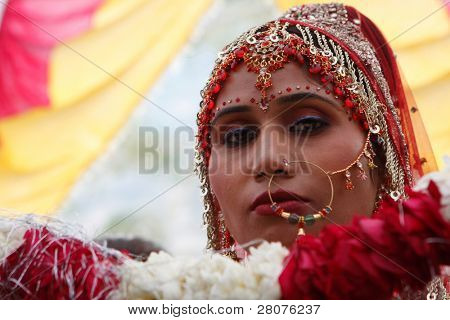 HARIDWAR, INDIA - JANUARY 14: The bride in a traditional Indian wedding, January 14, 2009 in Haridwar, India.