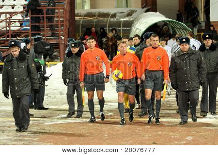 TOMSK, RUSSIA - NOVEMBER 21: Football match Championship of Russia among Tom'(Tomsk) - Rostov (Rostov), November 21, 2009 in Tomsk, Russia.