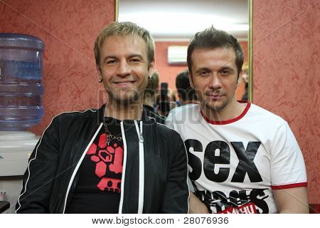 "TOMSK, RUSSIA - JUNE 6: Roman Chernitsyn (L) and Maxim Postelniy (R)- frontmans of disco group ""Plazma"" in a night club ""Teatro"", June 6, 2009 in Tomsk, Russia."