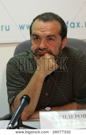 TOMSK, RUSSIA - JULY 30: Viktor Shenderovich - Soviet and Russian and satirical writer, tele- and radio broadcaster at a press conference in agency Interfax-Siberia, July 30, 2009 in Tomsk, Russia.