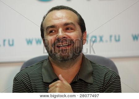 TOMSK, RUSSIA - JULY 30: Viktor Shenderovich - Soviet and Russian satirical writer, TV and radio broadcaster at a press conference in agency Interfax-Siberia, July 30, 2009 in Tomsk, Russia.