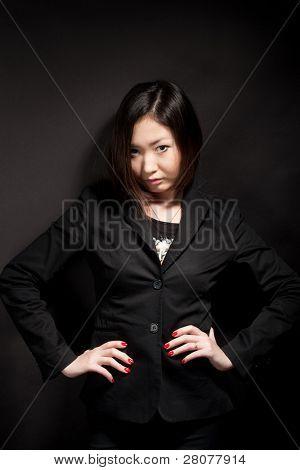 business woman in black jacket