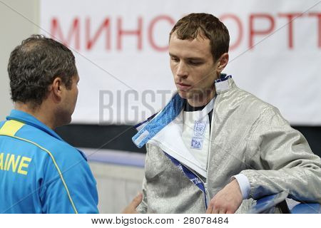 MOSCOW, RUSSIA - FEBRUARY 14: Dmytro Boyko (UKR) competes at the 2010 RFF Moscow Saber World Fencing Tournament, February 14, 2010 in Moscow, Russia.