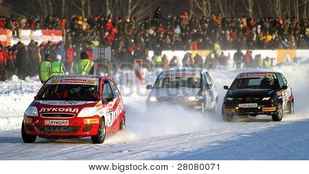 "MOSCOW, RUSSIA - FEBRUARY 23: 21st traditional ""Race Stars""Za rulyom"" on the ice road in Tushino (racing drivers: David Coulthard, Vitaly Petrov, Firdaus Kabirov), February 23, 2010 in Moscow, Russia."