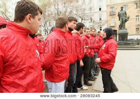 MOSCOW - APRIL 20: Voluntary youth militia, the birthday of Adolf Hitler, anti-fascist conduct patrols in the field of possible provocations radical nationalists, April 20, 2010 in Moscow, Russia.
