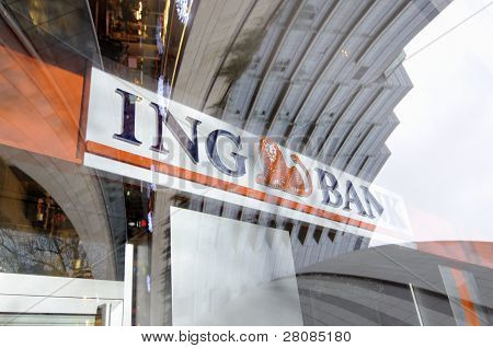 Sign Of Ing Bank Reflected In Window