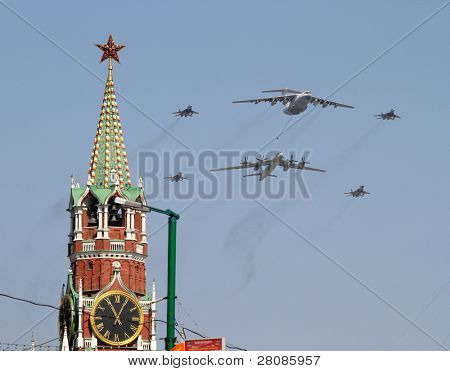 MOSCOW - MAY 9: Strategic supersonic bombers fly over Red Square during the Military Parade dedicated to the 65th anniversary of the Victory in the Great Patriotic War, May 9, 2010 in Moscow, Russia.
