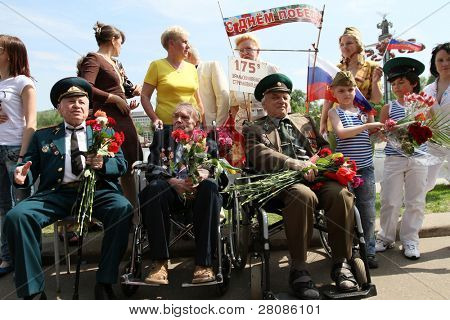 MOSCOW - MAY 9: Participants in Victory Day (65th anniversary) in the Great Patriotic War celebrations in Park Kultury, May 9, 2010 in Moscow, Russia.