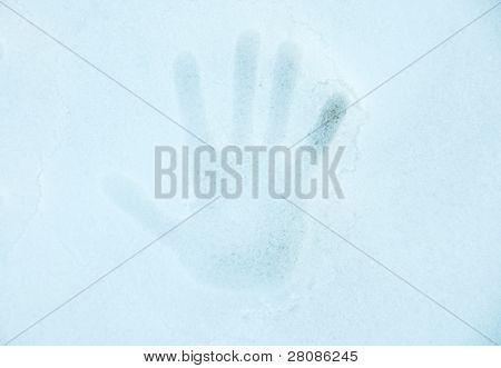 Hand Print On A Snow