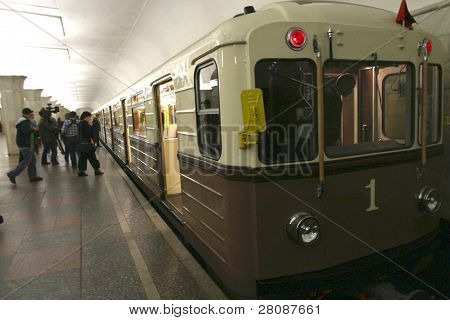 MOSCOW - MAY 15: Vintage car, replica of the first 1934 train, sets off on May 15 marking the 75th anniversary of Moscow Metro, May 15, 2010 in Moscow, Russia.