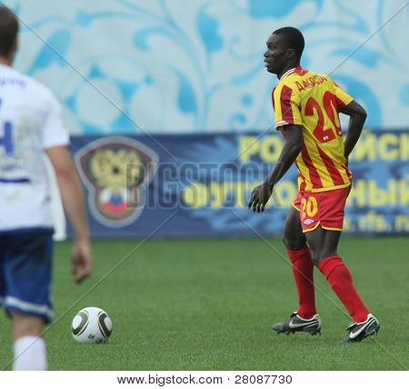 MOSCOW - MAY 15: Alania's midfielder Dakosta Akes Gur in a game of the 11th round of Russian Football Premier League - Dinamo Moscow vs. Alania Vladikavkaz - 2:0, May 15, 2010 in Moscow, Russia.