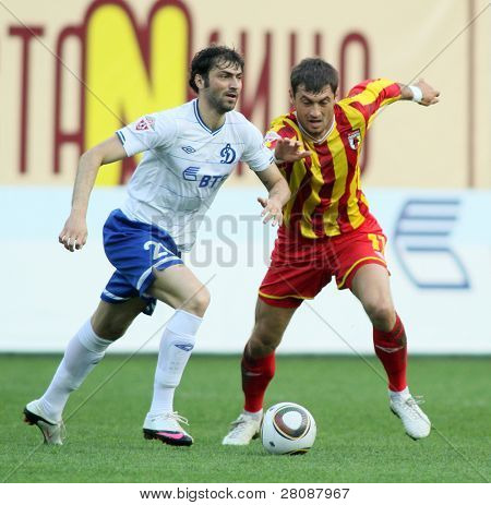MOSCOW - MAY 15: Dinamo's midfielder Adrian Ropotan (L) in a game of the 11th round of Russian Football Premier League - Dinamo Moscow vs. Alania Vladikavkaz - 2:0, May 15, 2010 in Moscow, Russia.