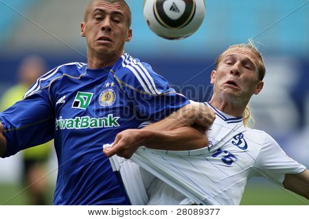 MOSCOW - JULY 3: Dynamo Kyiv defender Evgeniy Hacheridi (L) and Dynamo Moscow forward Andrei Voronin (R) in the VTB Lev Yashin Cup: FC Dynamo Moscow vs.FC Dynamo Kyiv, July 3, 2010 in Moscow, Russia.