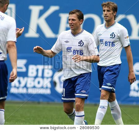 MOSCOW - JULY 3: Dinamo's midfielder Igor Semshov (C) in the VTB Lev Yashin Cup: FC Dynamo Moscow vs. FC Dynamo Kyiv (2:0), July 3, 2010 in Moscow, Russia.