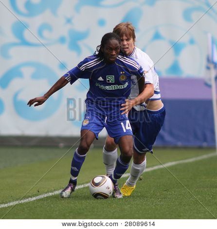 MOSCOW - JULY 3: Dynamo Kyiv's midfielder Frank Temile (L) and Dynamo Moscow forward Aleksandr Kokorin (R) in the VTB Lev Yashin Cup: Dynamo Moscow vs. Dynamo Kyiv, July 3, 2010 in Moscow, Russia.