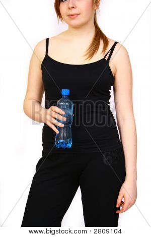Woman With Bottle Water Fitness Day