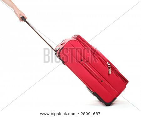Travel case and hand isolated on white