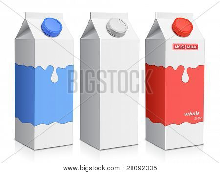Collection of milk boxes. Milk carton with screw cap. Raster version
