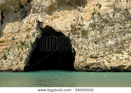dwejra cave at the beach in Gozo island, Malta