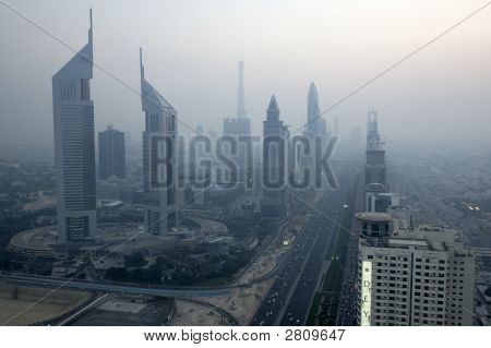 Sheikh Zayed Road. Burj Dubai At Background