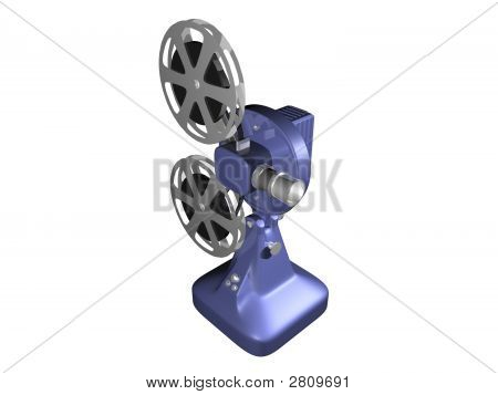 Blue Film Projector On White