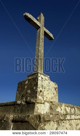cross of the Cabo Espichel and the sky detail, this is the cross at the entrance of the temple. Sesimbra, Portugal