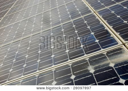 detail of photoelectric cells of a solar panel