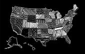 United States Of America Drawing Linear Art Map. Usa Vector Illustration. Chalk Drawing Territory Pr poster