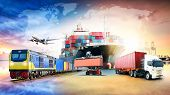 Global Business Logistics Import Export Background And Container Cargo Freight Ship Transport Concep poster