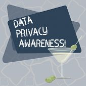 Writing Note Showing Data Privacy Awareness. Business Photo Showcasing Respecting Privacy And Protec poster