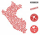 Mosaic Map Of Peru Created With Red Love Hearts, And Rubber Watermarks For Dating. Vector Lovely Geo poster