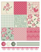 picture of shabby chic  - Shabby Chic Country Rose Vector Seamless Patterns - JPG