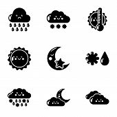 Meteorological Information Icons Set. Simple Set Of 9 Meteorological Information Icons For Web Isola poster