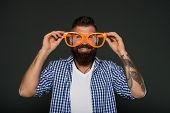 Man Brutal Bearded Hipster Wear Funny Eyeglasses Accessory. Human Strengths And Virtues. Positive Mo poster