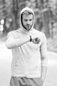 Check Time His Best Score. Man Athlete Busy Face Check Fitness Tracker Nature Background. Athlete Wi poster