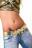 stock photo of pierced belly button  - pierced belly - JPG