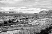 Haukadalur Valley In Iceland. Beautiful Landscape With River In Valley. Little Buildings In Peaceful poster