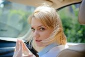 I Like Traveling. Pretty Woman Travel By Automobile Transport. Eco Driving Is An Ecologic Driving St poster