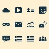 Media Icons Set With Sticker, Media, Cloud And Other Team Elements. Isolated Vector Illustration Med poster